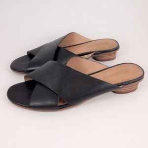 Madewell Kylie 9.5 Black leather Slide Sandals EUC